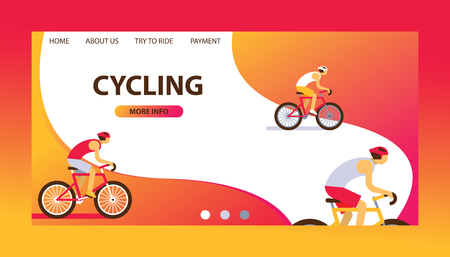 Triathlon track vector illustration. Cycling website design. Cartoon male cyclists riding a bike. Road cycling, cycling tour. Payment. Try to ride. More information. Healthy lifestyle.