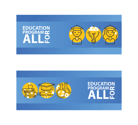 Education set of banners vector illustration. Education program for all. Female and male students. Piles of books with apple. Flask and vial. Graduate cap. Letter with ink