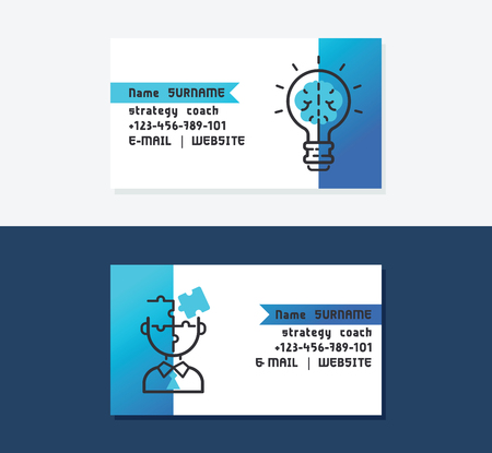 Strategy coach business cards vector illustration. Icons with bulb and brain. Good ideas for business developing. Person made of puzzles. Contact information with name, website, mail