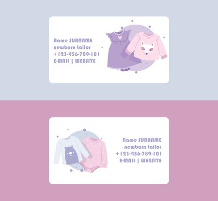 Baby clothing business card vector cartoon kids clothes newborn garment child bodysuit apparel for children advertising shopping business-card set backdrop illustration background.