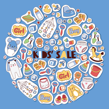 Baby stickers vector cartoon kids toys and clothing newborn garment child clothes bodysuit apparel for children shop advertising banner backdrop illustration background.