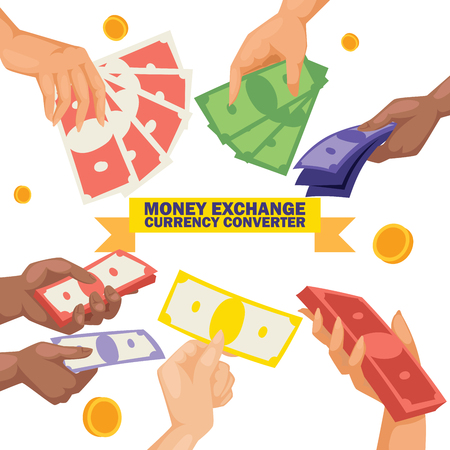 Money vector stack of dollar or currency exchange cash in hands monetary converter in bank backdrop moneysaving and financial business and finance banking illustration background.