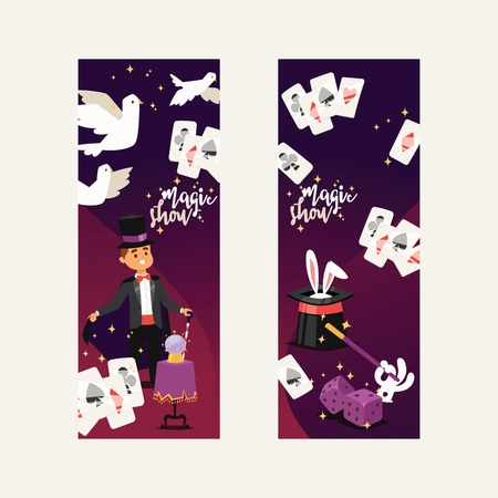 Magician vector illusionist show magic man illusion or magical illusionism on backdrop and cartoon character person in hat show performance with bunny dices dove background set illustration Stockfoto - 116570968