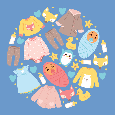 Baby shop vector cartoon kids clothing toys newborn garment and childs clothes bodysuit dress apparel for children advertising shopping sale banner backdrop illustration background. Banque d'images - 125603240