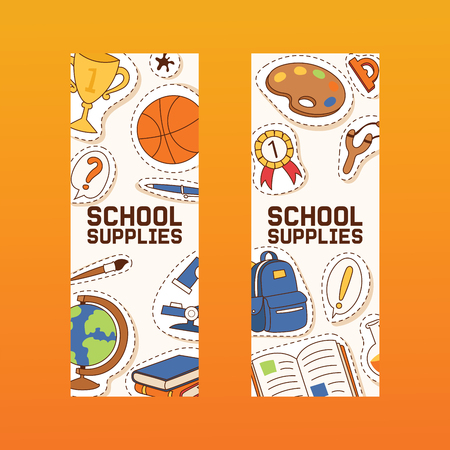 School supplies vector education schooling accessory for schoolchilds backdrop educational stationery for studying in classroom sticker illustration set of background Illustration