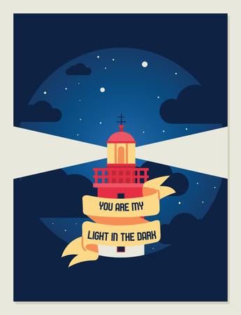 Lighthouse vector beacon lighter beaming path of lighting from seaside coast backdrop illustration lighthouses marine background banner.