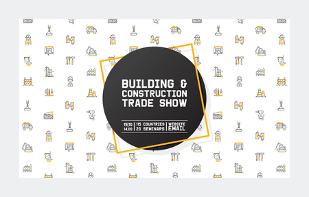 Builder vector building construction for newbuild backdrop outline industry illustration constructing industrial excavator power shovel buildup banner background.