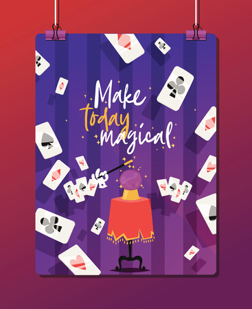 Magician vector illusionist show magic man illusion or magical illusionism and cartoon character person in hat show performance with girl and bunny background illustration 向量圖像