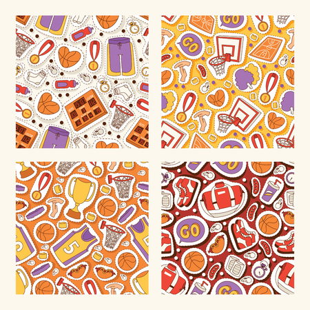 Basketball seamless pattern vector sportswear and ball sticker in net hoop on basketball court illustration set of sports clothes for gym banner set backdrop illustration background. Illustration