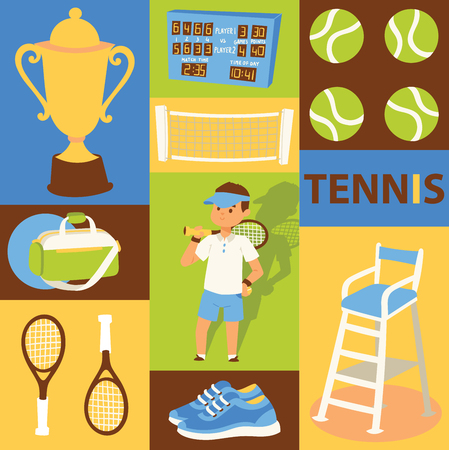Tennis vector seamless pattern player man character playing tennis-ball sportswear on court backdrop competition signs tennis-racket tennis-court illustration set background banner. Illustration