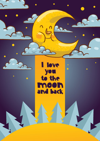 Cartoon moon vector moonlight star character in night sky illustration background childish yellow moony cloud set backdrop moonlit bedtime banner.