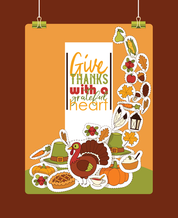 Thanksgiving food vector traditional turkey on holiday dinner in autumn backdrop celebration sticker decoration with pumpkin pie background illustration banner.