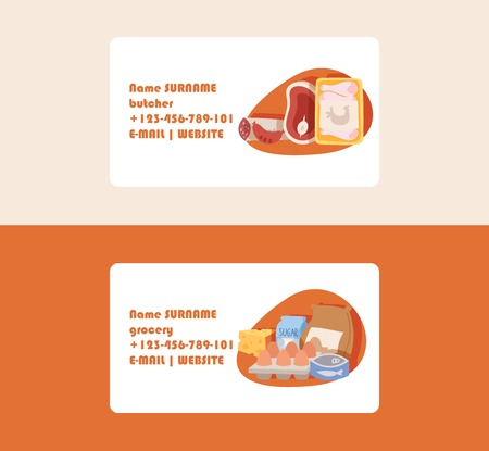 Food vector supermarket business card with meal fish sausages meat illustration backdrop set of business-cards eggs sugar flour and milk cheese dairy products background.