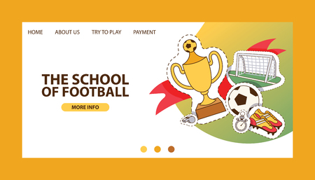Soccer vector landing page soccerball football pitch and sportswear of footballer or soccerplayer web-page illustration backdrop set of footballing clothes wallpaper web-site trophy cup background.