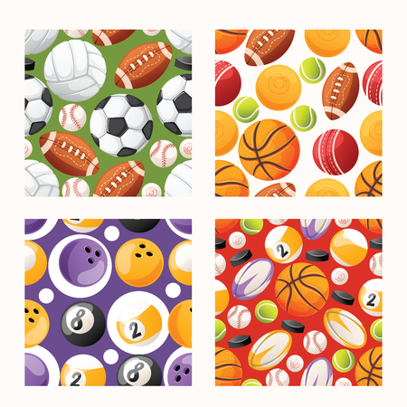 Ball vector seamless pattern football basketball soccer baseball background sportive equipment volleyball bowling tennis backdrop for sport game backdrop set wallpaper.