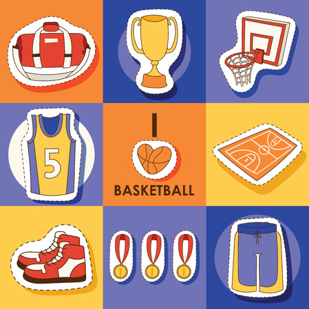 Basketball vector sport sticker sportswear medal cup net hoop on basketball court illustration set of sportive clothes for gym banner set backdrop illustration background. Banque d'images - 125326098