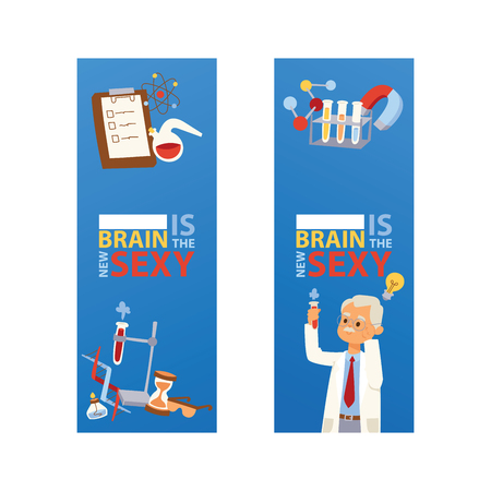 Chemistry vector chemical science pharmacy scientist research in school laboratory backdrop illustration set of background lab scientific equipment microscope banner Ilustração