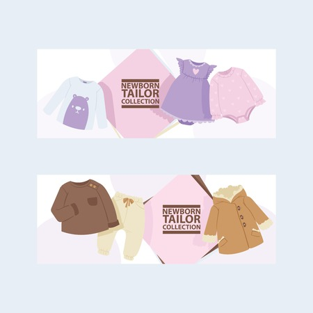 Baby clothing vector cartoon kids clothes fashion newborn garment child bodysuit apparel for children advertising shopping business-card backdrop set illustration background. Иллюстрация