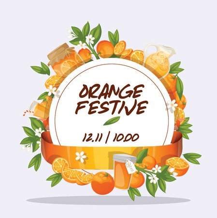 Citrus vector fresh orange fruit backdrop and organic tropical juicy food illustration background fruity banner with orange-tree leaves badge.