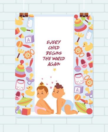 Baby shower vector cartoon kids newborn character boy girl playing with toys in playroom baby-shower banner backdrop children in love illustration on white background.