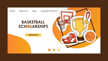 Basketball vector sport basket-ball landing page of website with net hoop on basketball-court illustration sportive web banner design backdrop illustration background.