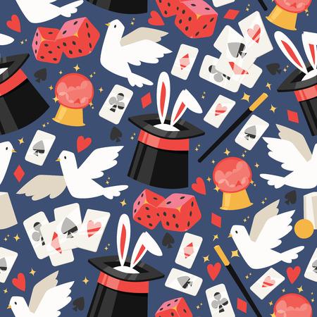 El ilusionista de patrones sin fisuras de vector de mago muestra la ilusión mágica jugando a las cartas y el ilusionismo mágico en el telón de fondo y el rendimiento del espectáculo de dibujos animados con ilustración de conjunto de fondo de paloma de conejito