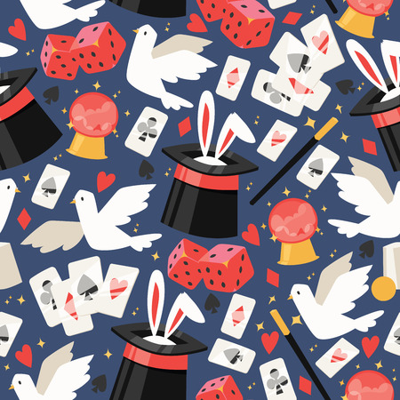 Magician vector seamless pattern illusionist show magic illusion playing cards and magical illusionism on backdrop and cartoon show performance with bunny dove background set illustration Stock Illustratie