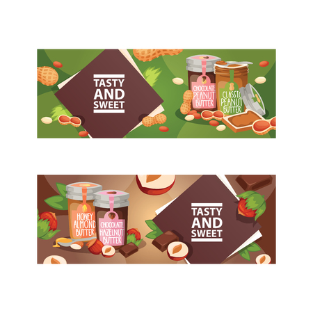 Nut vector nutshell of hazelnut with butter chocolate honey in glass jar set backdrop organic food cashew walnut and almond nuts peanut and chestnuts nutmeg illustration background banner.