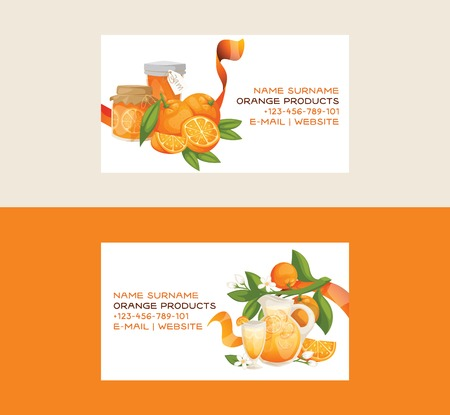 Citrus vector fresh orange fruit business card backdrop tropical juicy drinks in jar and organic food jelly food business-card illustration set of with orange-tree leaves background fruity banner.
