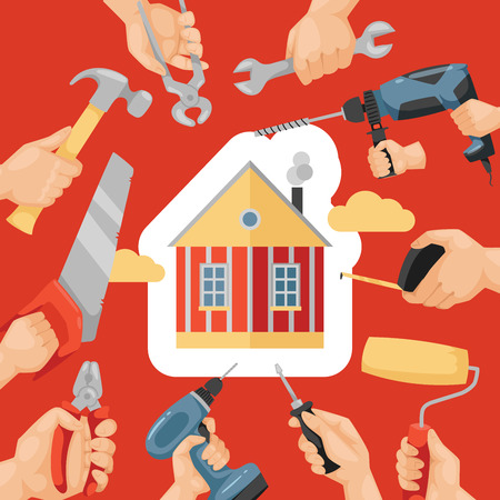 Hand tool vector house construction handtools hammer pliers and screwdriver of toolbox illustration workshop backdrop build home by carpenter builder with spanner and hand-saw background. 일러스트