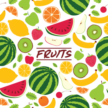 Fruit pattern seamless vector fruity background and fruitful exotic wallpaper with fresh slices of watermelon orange apples and tropical fruits illustration backdrop. Ilustrace