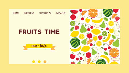 Fruit pattern vector landing page fruity background and fruitful exotic web-page wallpaper with fresh slices of watermelon orange apples and tropical fruits web-site illustration backdrop. Ilustrace