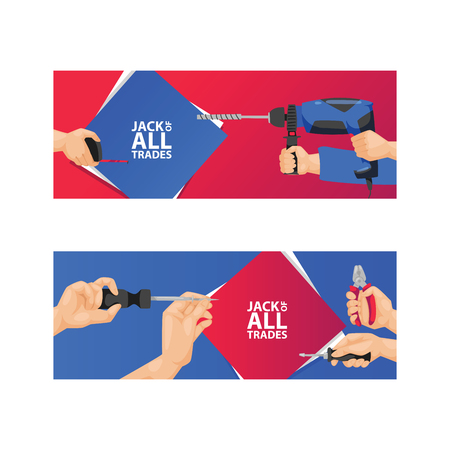 Hand tool vector construction handtools hammer pliers and screwdriver of toolbox illustration workshop set of backdrop carpenters spanner and hand-saw background.