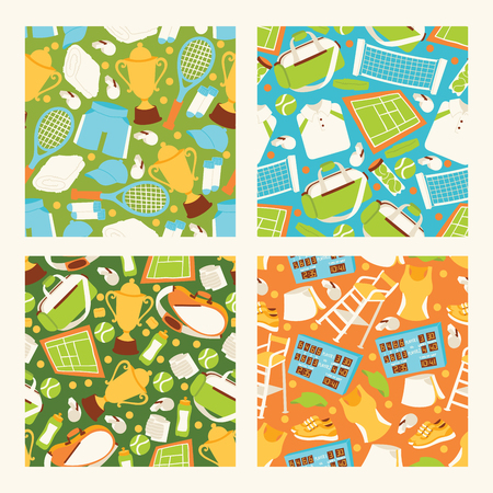 Tennis vector seamless pattern playing tennis-ball sportswear on court backdrop competition signs tennis-racket tennis-court illustration set background banner. Stock Illustratie