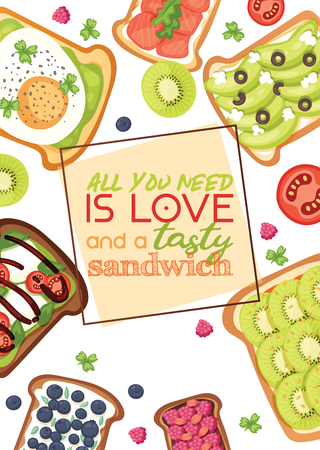 Toast vector sandwich healthy toasted food with bread vegetables and fruits or egg snack for breakfast illustration backdrop with sliced tomato and cut sausages background.