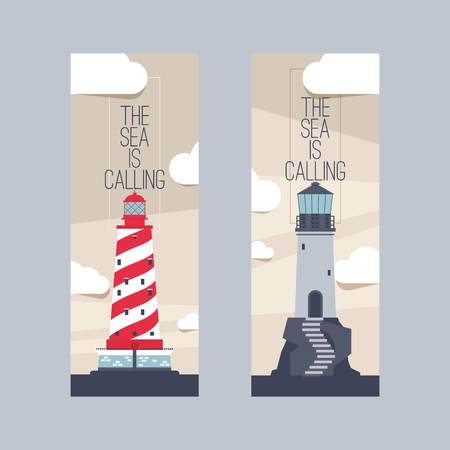 Lighthouse vector beacon lighter beaming path of lighting from seaside coast set of backdrop illustration lighthouses marine background banner.