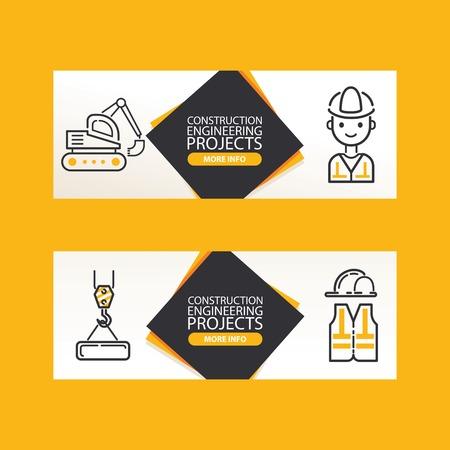 Builder vector building construction for newbuild backdrop outline industry illustration constructing industrial excavator power shovel buildup banner set of background
