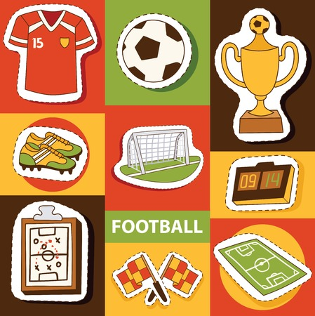 Soccer vector soccerball football pitch and sportswear of footballer or soccerplayer illustration backdrop set of footballing clothes wallpaper trophy cup background.