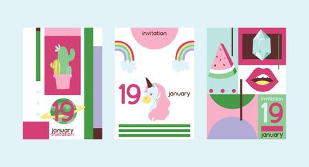 Cartoon vector girlish accessories lipstick icecream kids unicorn rainbow and doghnut illustration wallpaper colorful set of backdrop girlie background Illustration