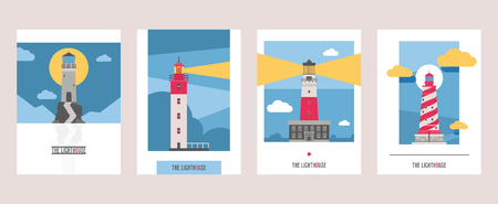 Lighthouse vector beacon lighter beaming path of lighting from seaside coast illustration set of lighthouses isolated on background.