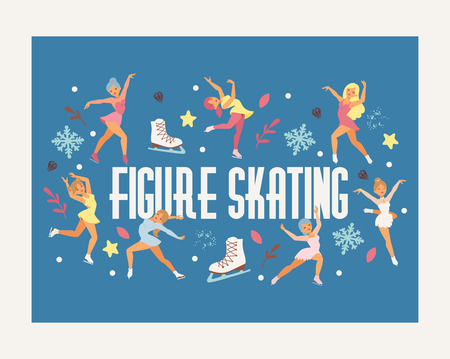 Figure skating vector backdrop girl character skates on competition and professional girlie skater illustration wallpaper of people athlete dancing on ice background.