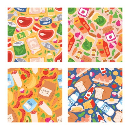 Food vector seamless pattern meal vegetables fruits and fish sausages from supermarket or grocery illustration backdrop set of pastry and milk or seafood products background