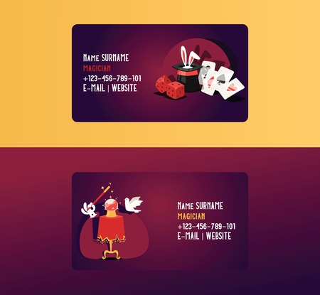 Magician business card vector illusionist show magic illusion or magical illusionism on business-card backdrop and cartoon show performance with bunny dices dove background set illustration