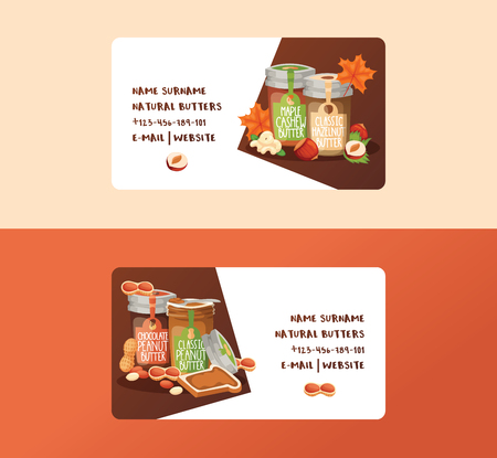 Nut vector business card nutshell of hazelnut with butter chocolate honey set backdrop organic food cashew walnut and almond peanut and chestnuts nutmeg business-card illustration background banner.