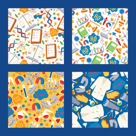 Chemistry vector seamless pattern chemical science backdrop pharmacy research in school laboratory illustration set of background lab scientific equipment microscope.
