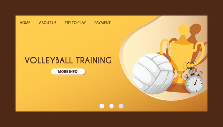 Ball vector landing page volleyball competition web-page background sportive equipment volley-ball backdrop web site for sport game backdrop wallpaper