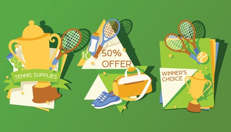 Tennis vector player man character playing tennis-ball sportswear on court backdrop competition signs tennis-racket tennis-court illustration set background banner. Stock Illustratie