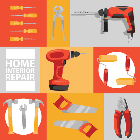 Hand tool vector seamless pattern construction handtools hammer pliers and screwdriver of toolbox illustration workshop set of backdrop carpenters spanner and hand-saw background. 일러스트