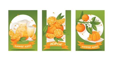 Citrus vector fresh orange fruit backdrop tropical juicy drinks in jar and organic food jelly food badge illustration set of with orange-tree leaves background fruity banner.