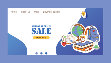 School supplies vector landing page education schooling accessory for schoolchilds web-page backdrop educational stationery for studying in classroom sticker illustration set of background.